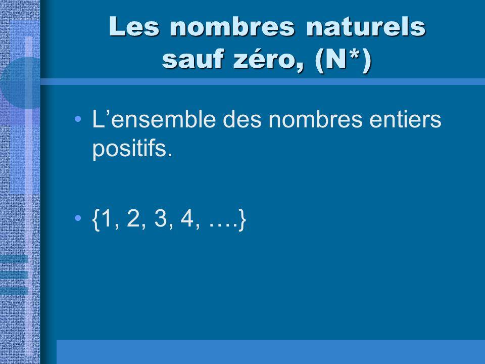 Les nombres naturels sauf zéro, (N*)