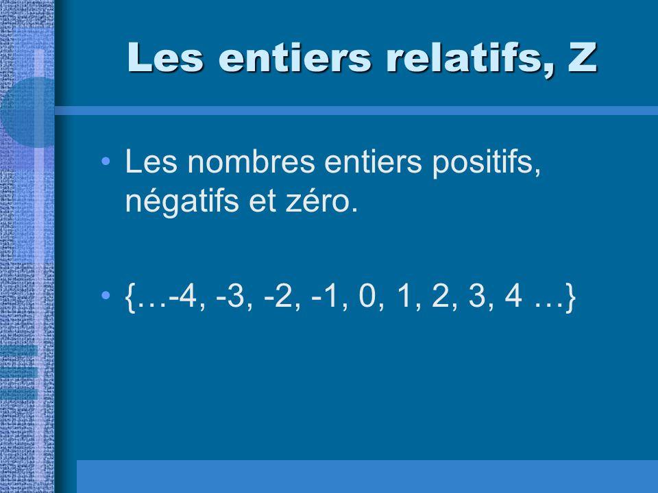 Les entiers relatifs, Z Les nombres entiers positifs, négatifs et zéro.