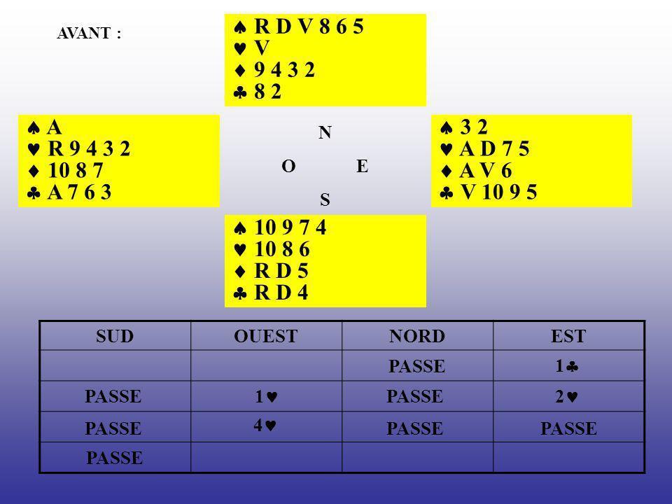  R D V 8 6 5  V.  9 4 3 2.  8 2. AVANT :  A.  R 9 4 3 2.  10 8 7.  A 7 6 3. N. O E.
