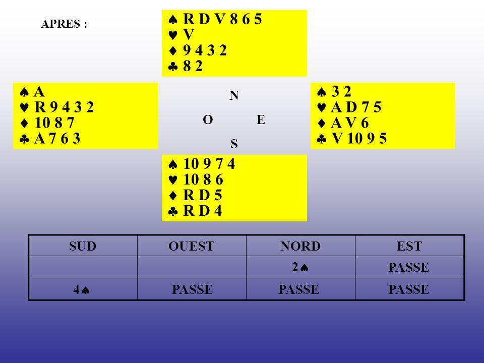  R D V 8 6 5  V.  9 4 3 2.  8 2. APRES :  A.  R 9 4 3 2.  10 8 7.  A 7 6 3. N. O E.