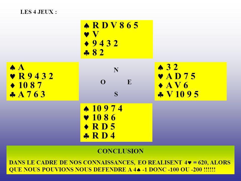 LES 4 JEUX :  R D V 8 6 5.  V.  9 4 3 2.  8 2.  A.  R 9 4 3 2.  10 8 7.  A 7 6 3.  3 2.