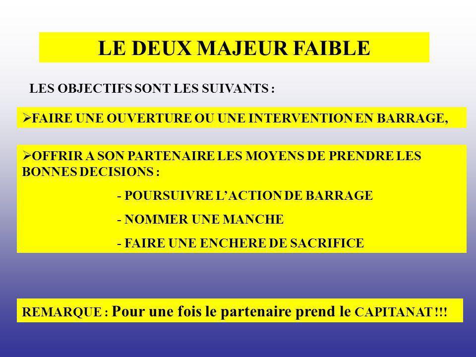 LE DEUX MAJEUR FAIBLE LES OBJECTIFS SONT LES SUIVANTS :