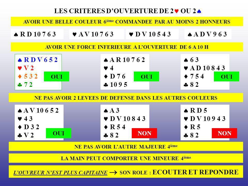 LES CRITERES D'OUVERTURE DE 2 OU 2