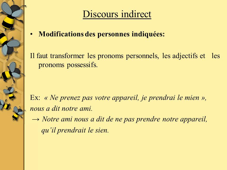 Discours indirect Modifications des personnes indiquées: