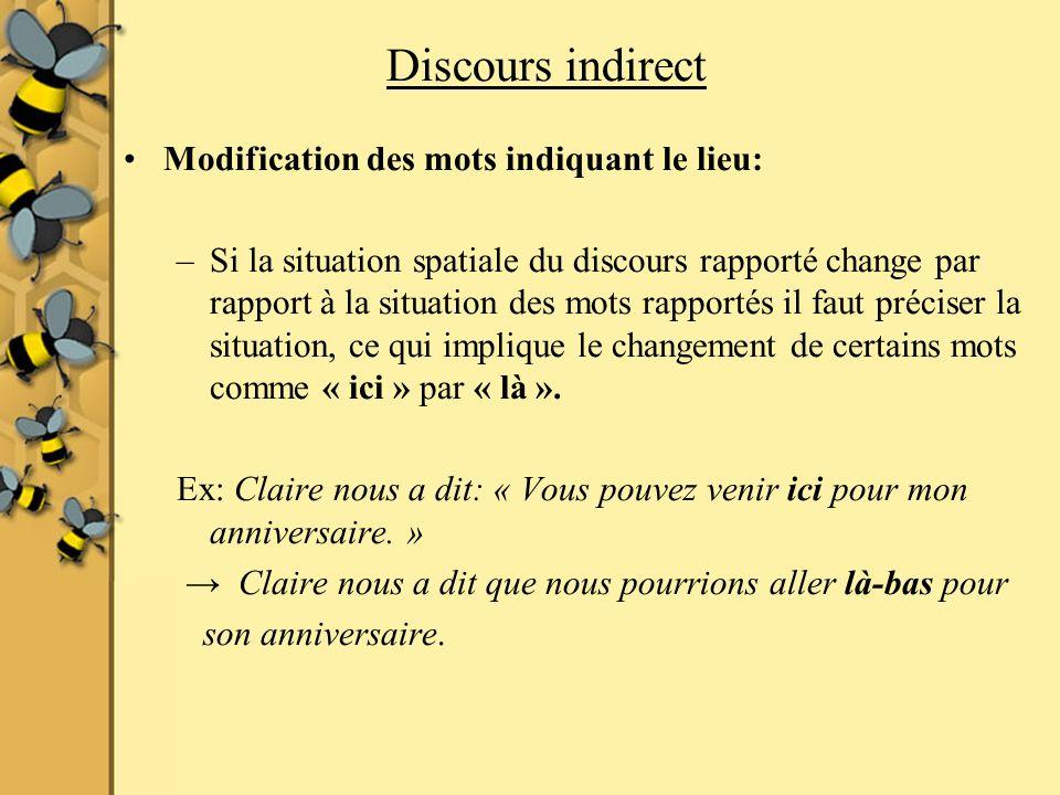 Discours indirect Modification des mots indiquant le lieu: