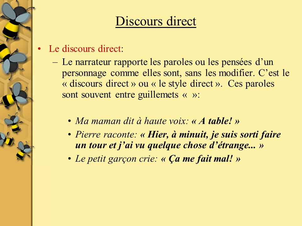 Discours direct Le discours direct: