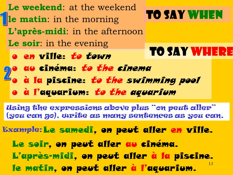 to say when 1 to say where 2 Le weekend: at the weekend