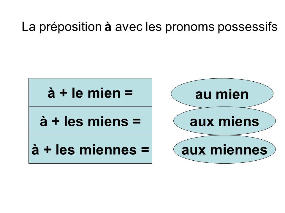 La préposition à avec les pronoms possessifs