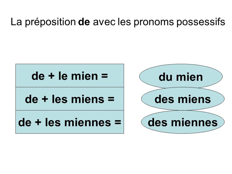 La préposition de avec les pronoms possessifs