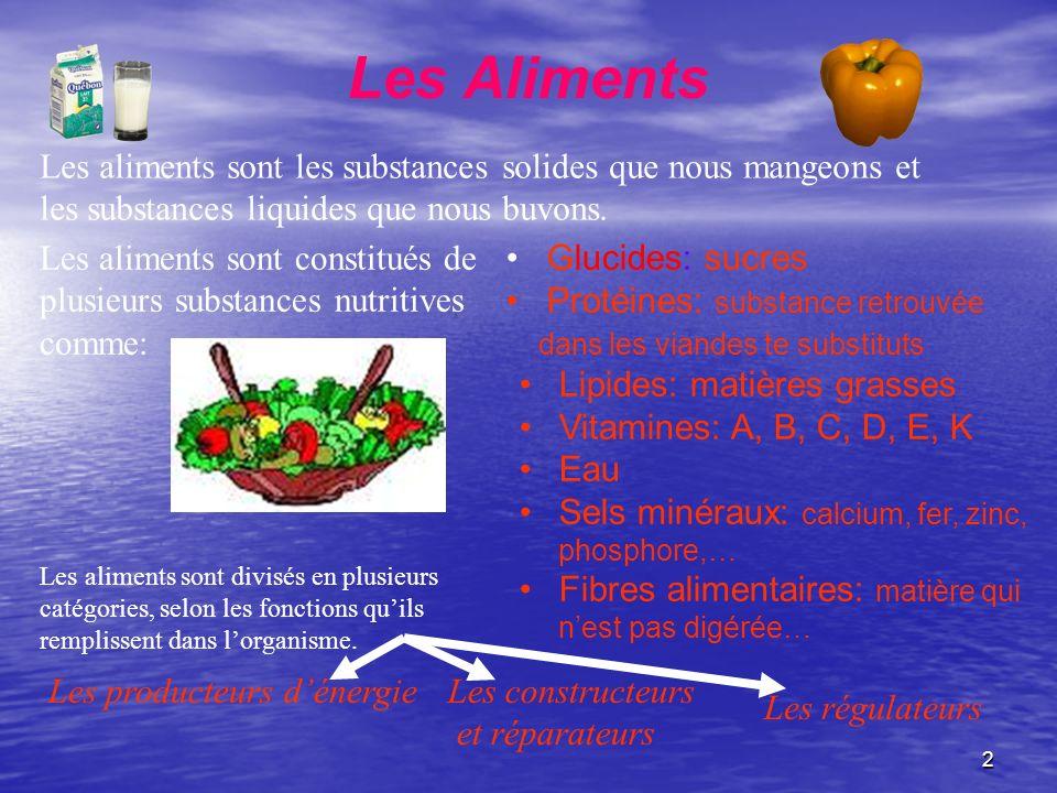 Les Aliments Les aliments sont les substances solides que nous mangeons et les substances liquides que nous buvons.