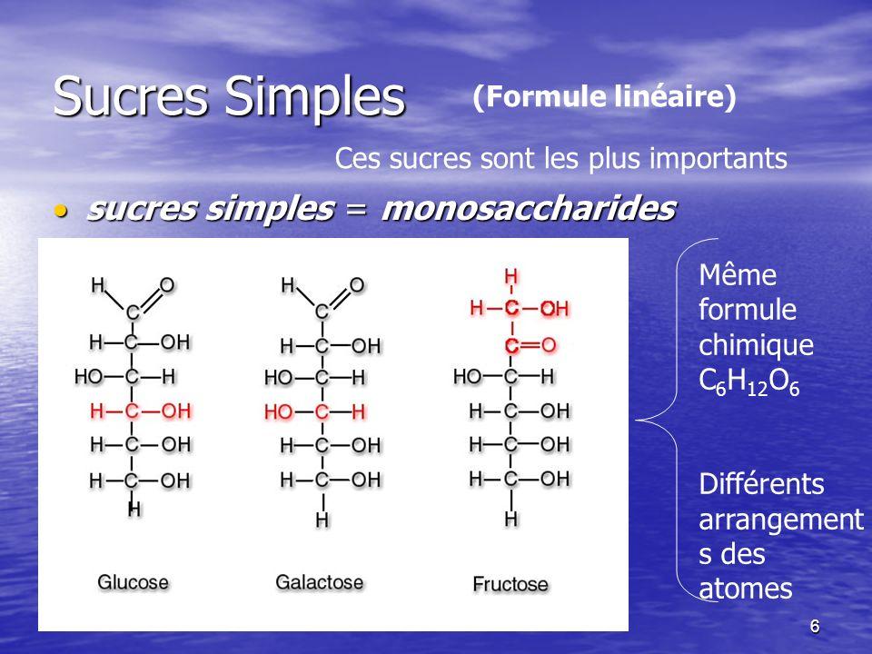 Sucres Simples sucres simples = monosaccharides (Formule linéaire)