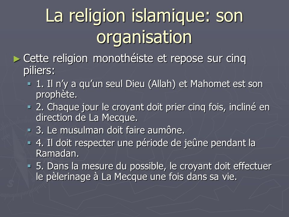 La religion islamique: son organisation