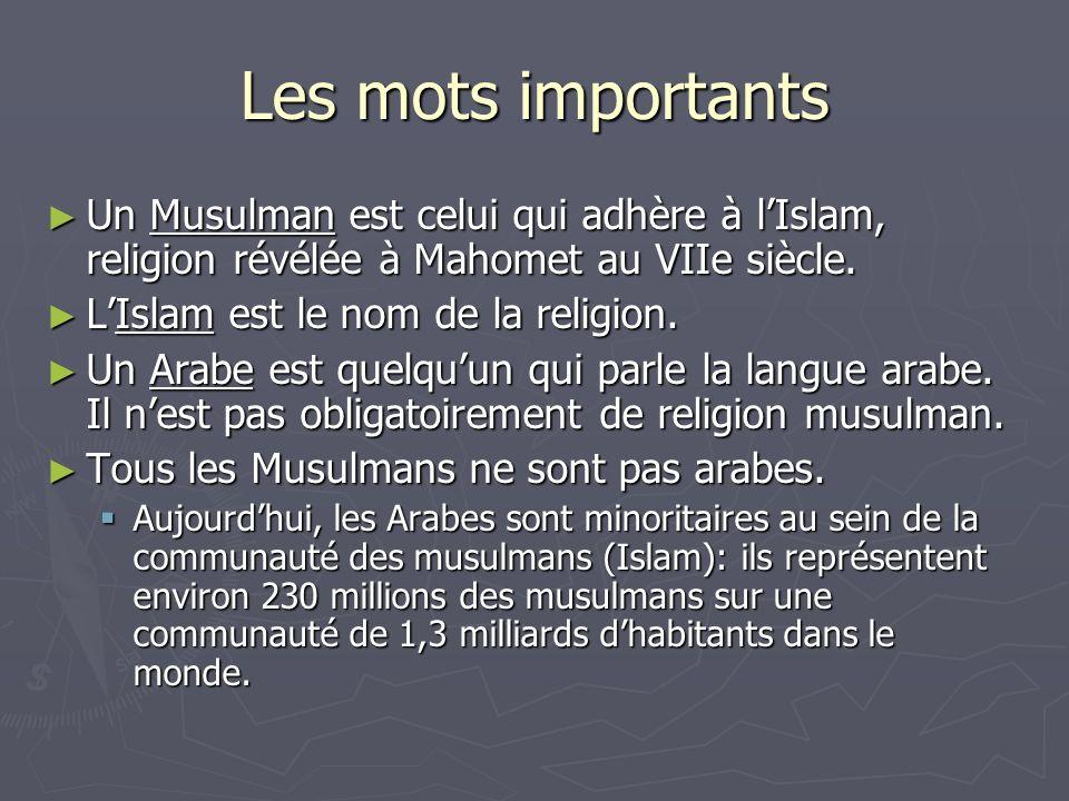 Les mots importants Un Musulman est celui qui adhère à l'Islam, religion révélée à Mahomet au VIIe siècle.