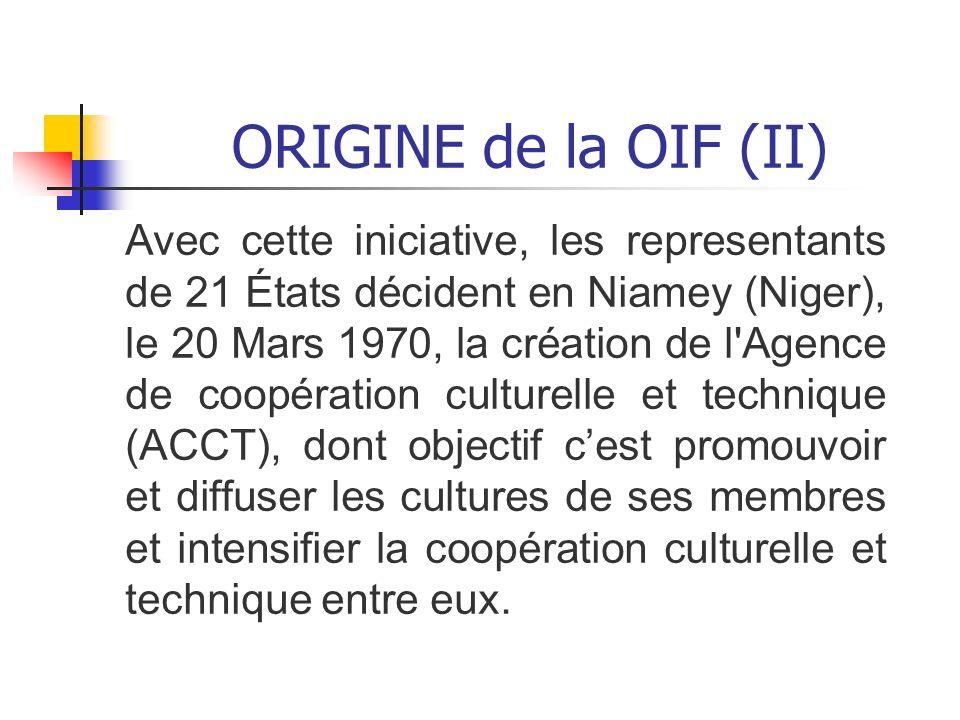 ORIGINE de la OIF (II)