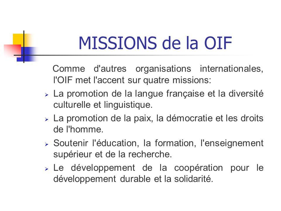 MISSIONS de la OIF Comme d autres organisations internationales, l OIF met l accent sur quatre missions: