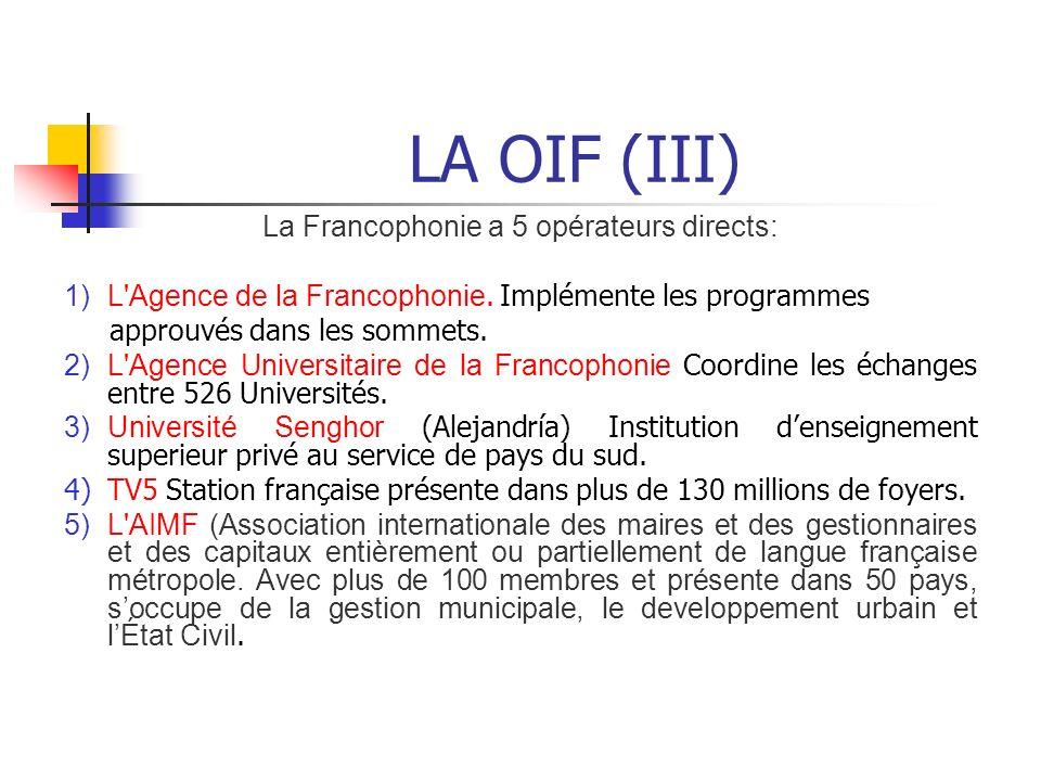 La Francophonie a 5 opérateurs directs: