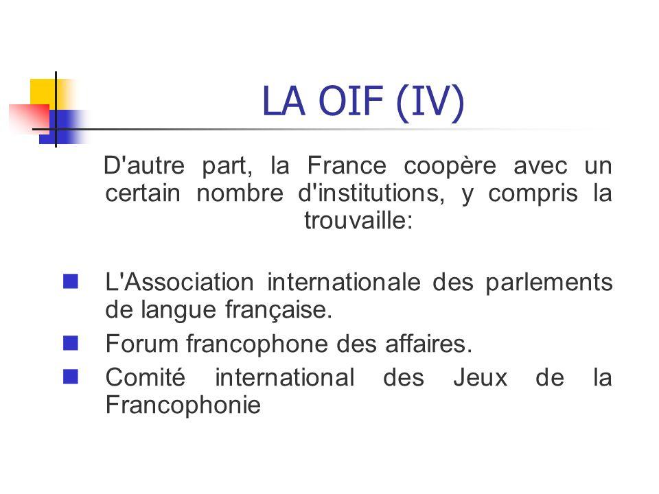 LA OIF (IV) D autre part, la France coopère avec un certain nombre d institutions, y compris la trouvaille: