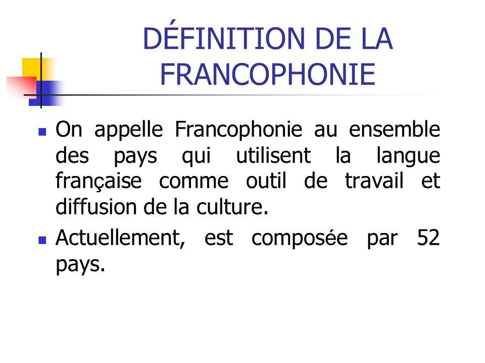 DÉFINITION DE LA FRANCOPHONIE