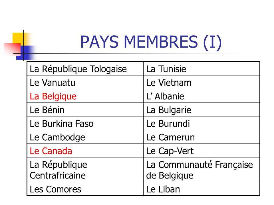 PAYS MEMBRES (I) La République Tologaise La Tunisie Le Vanuatu