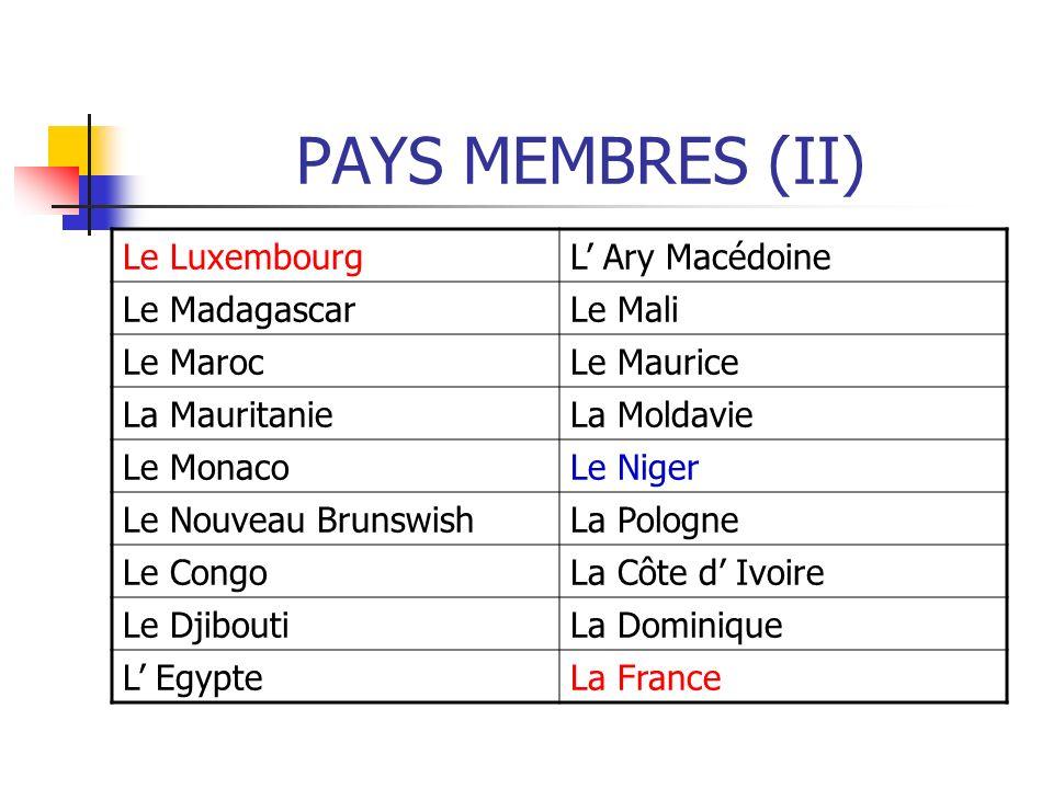PAYS MEMBRES (II) Le Luxembourg L' Ary Macédoine Le Madagascar Le Mali