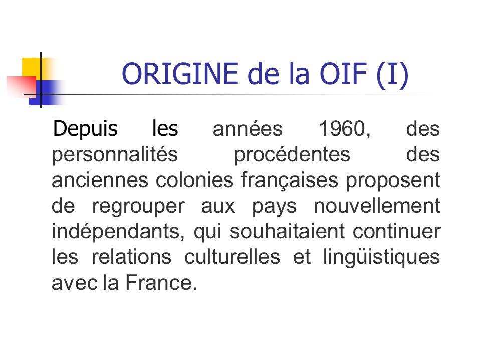 ORIGINE de la OIF (I)