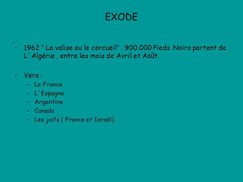 EXODE 1962 La valise ou le cercueil . 900.000 Pieds. Noirs partent de L´Algérie , entre les mois de Avril et Août.
