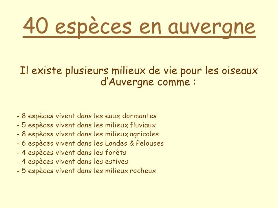 Il existe plusieurs milieux de vie pour les oiseaux d'Auvergne comme :