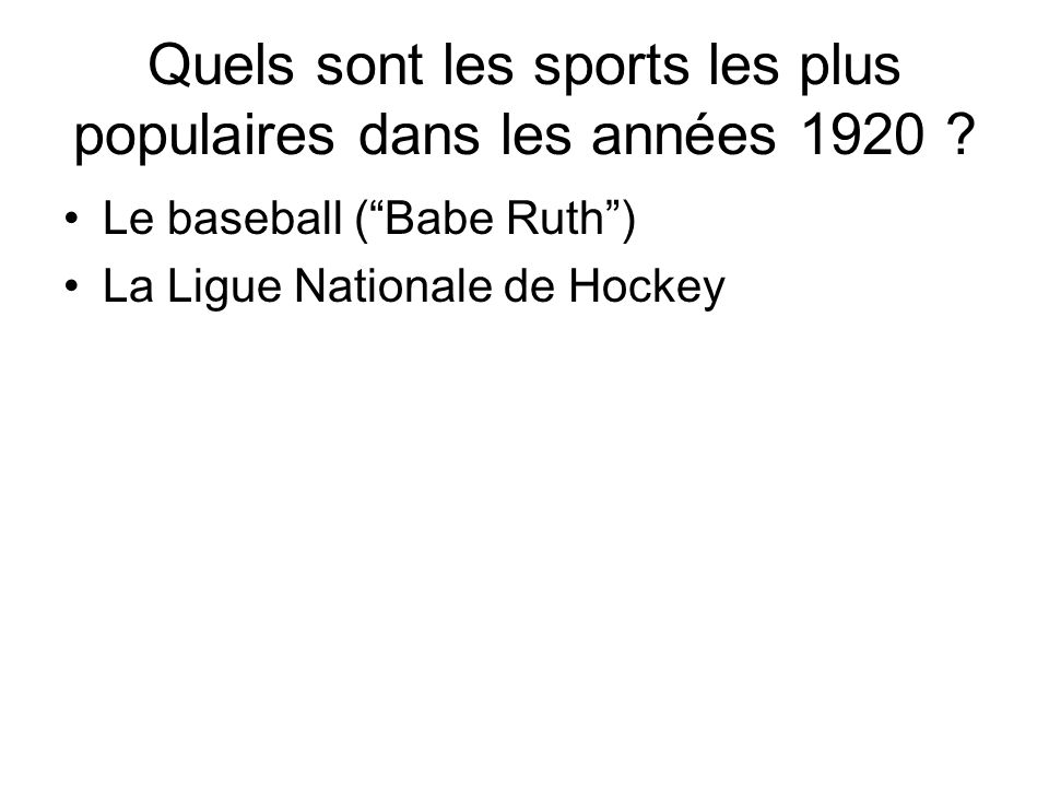 Quels sont les sports les plus populaires dans les années 1920
