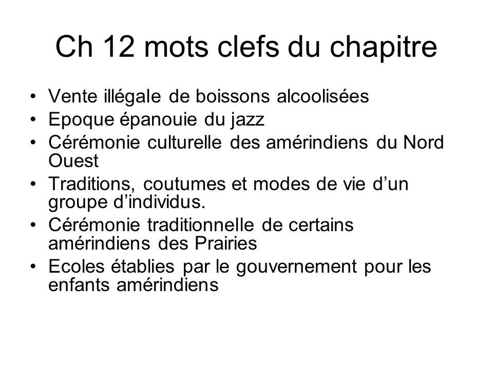 Ch 12 mots clefs du chapitre