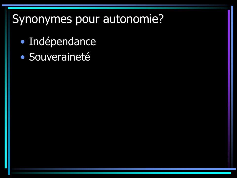 Synonymes pour autonomie