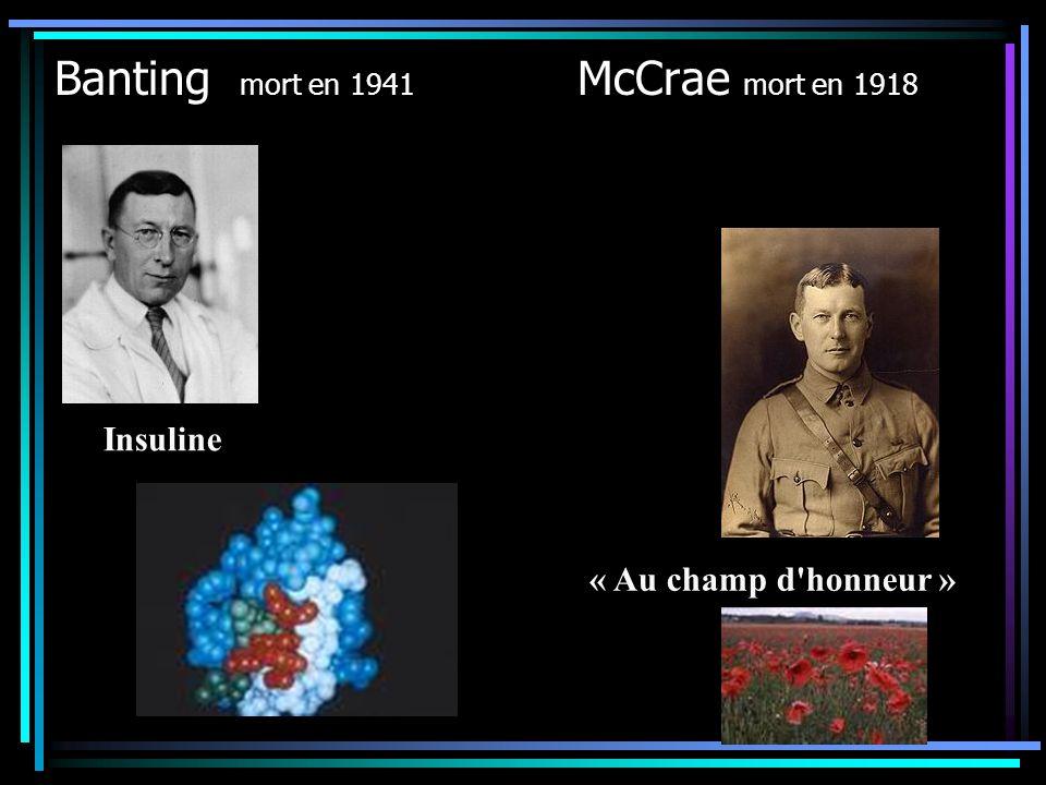 Banting mort en 1941 McCrae mort en 1918