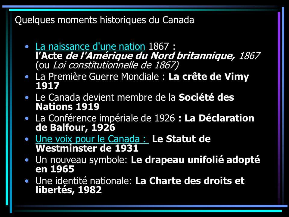 Quelques moments historiques du Canada