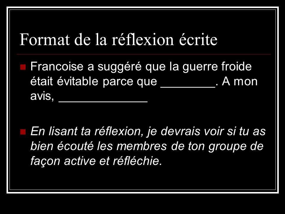Format de la réflexion écrite