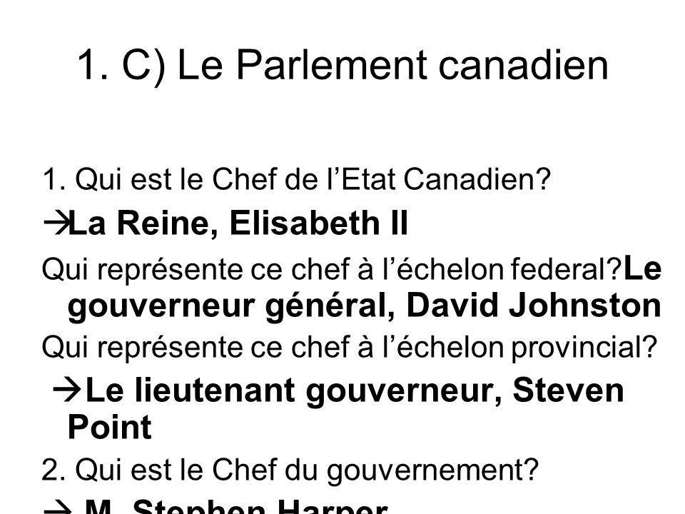 1. C) Le Parlement canadien
