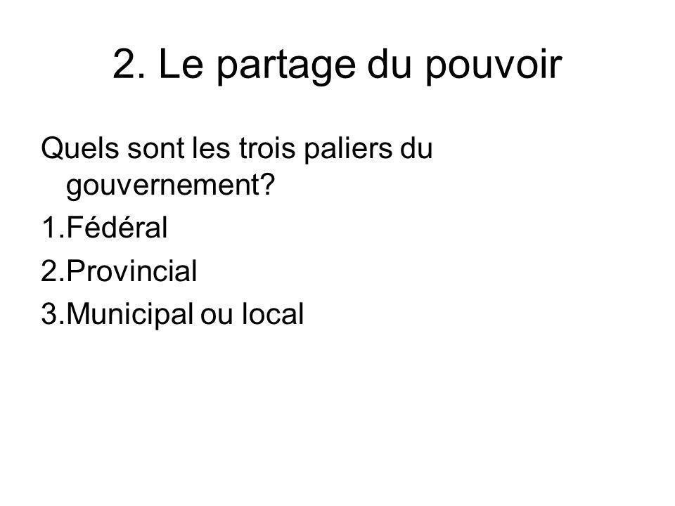 2. Le partage du pouvoir Quels sont les trois paliers du gouvernement