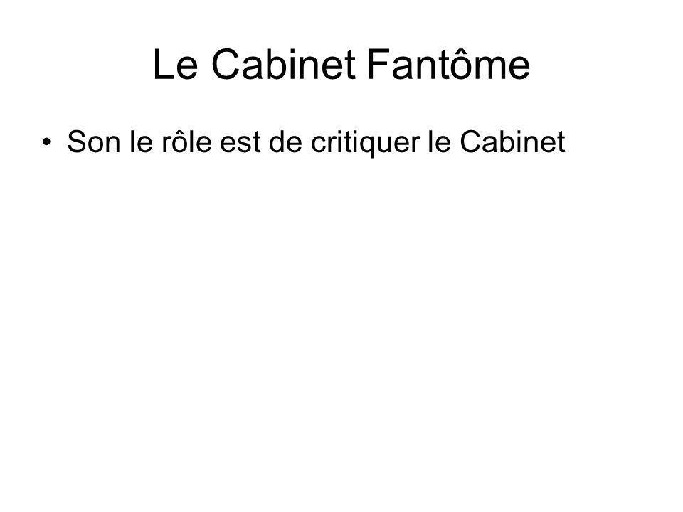 Le Cabinet Fantôme Son le rôle est de critiquer le Cabinet