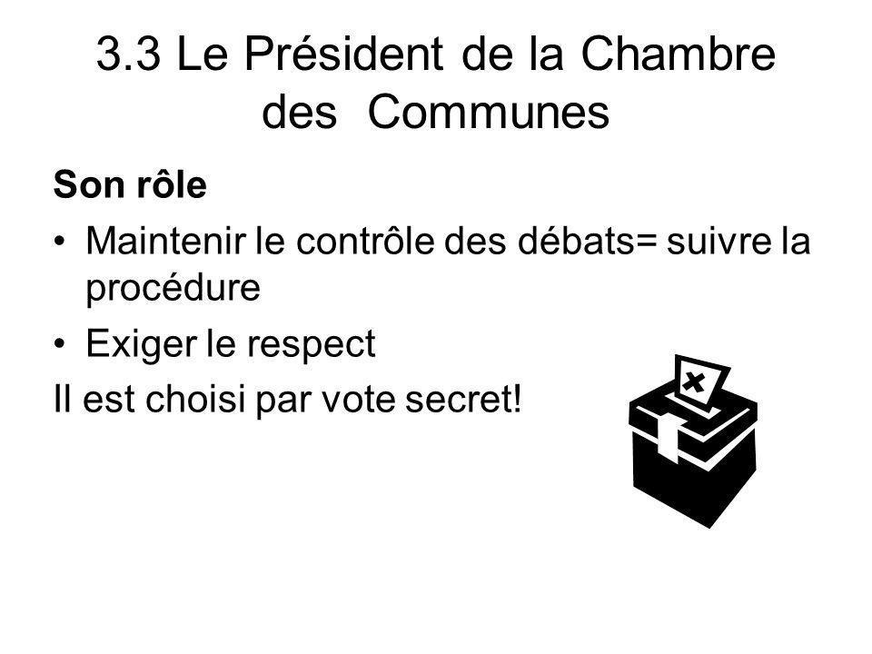 3.3 Le Président de la Chambre des Communes