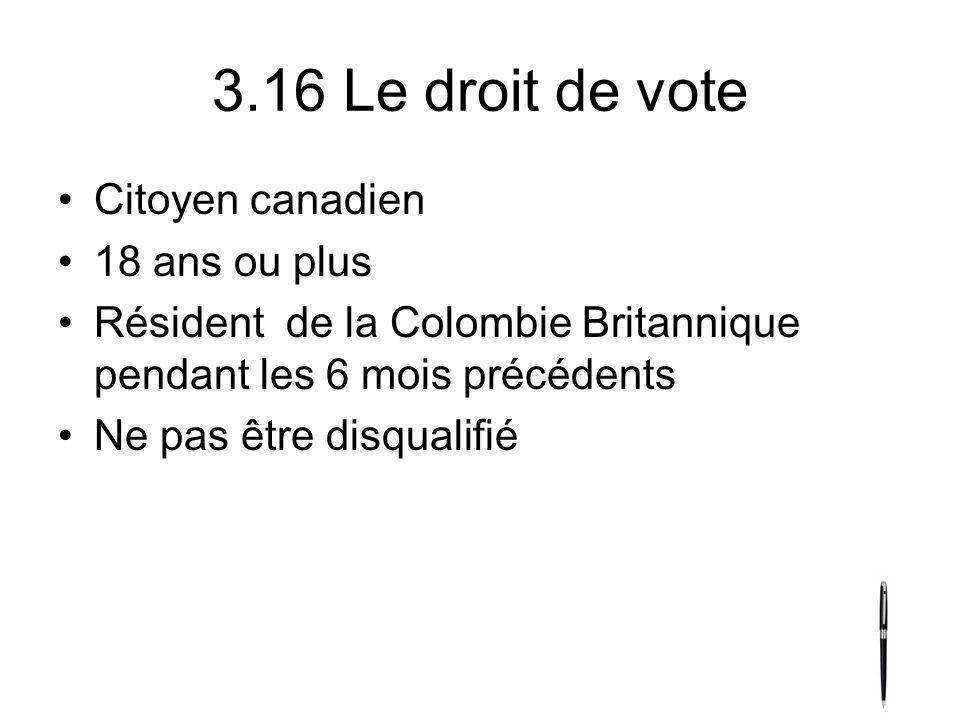 3.16 Le droit de vote Citoyen canadien 18 ans ou plus