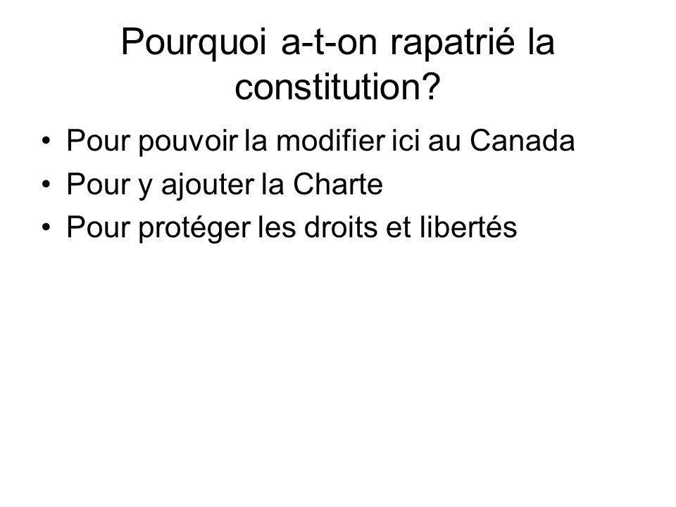 Pourquoi a-t-on rapatrié la constitution