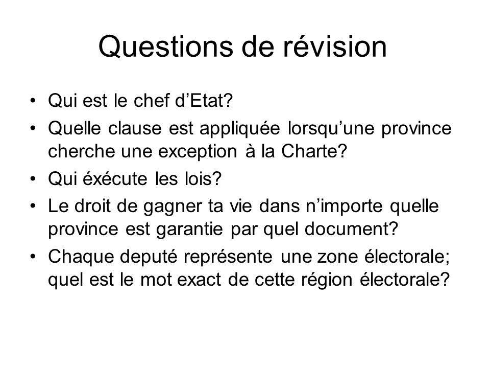 Questions de révision Qui est le chef d'Etat