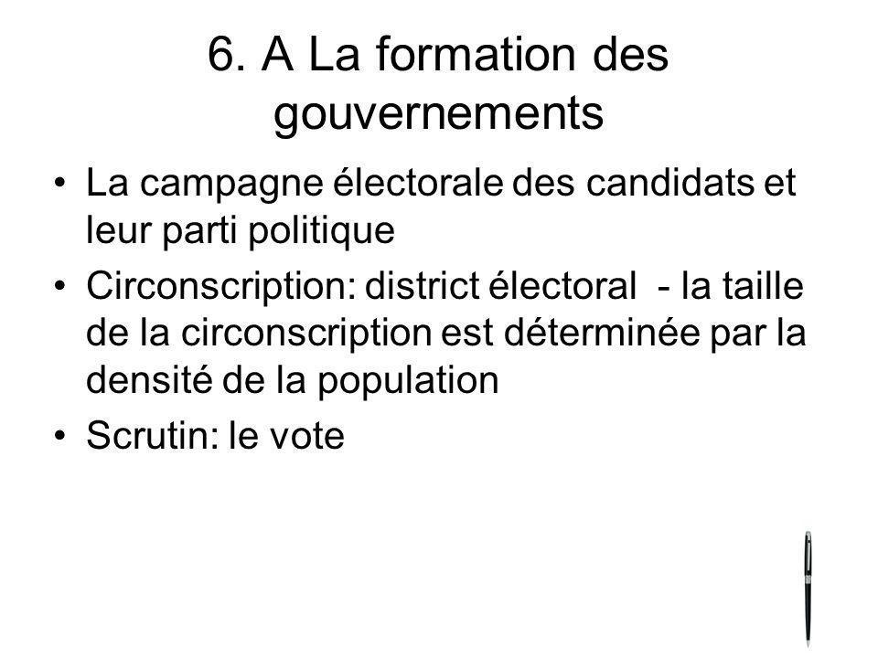 6. A La formation des gouvernements