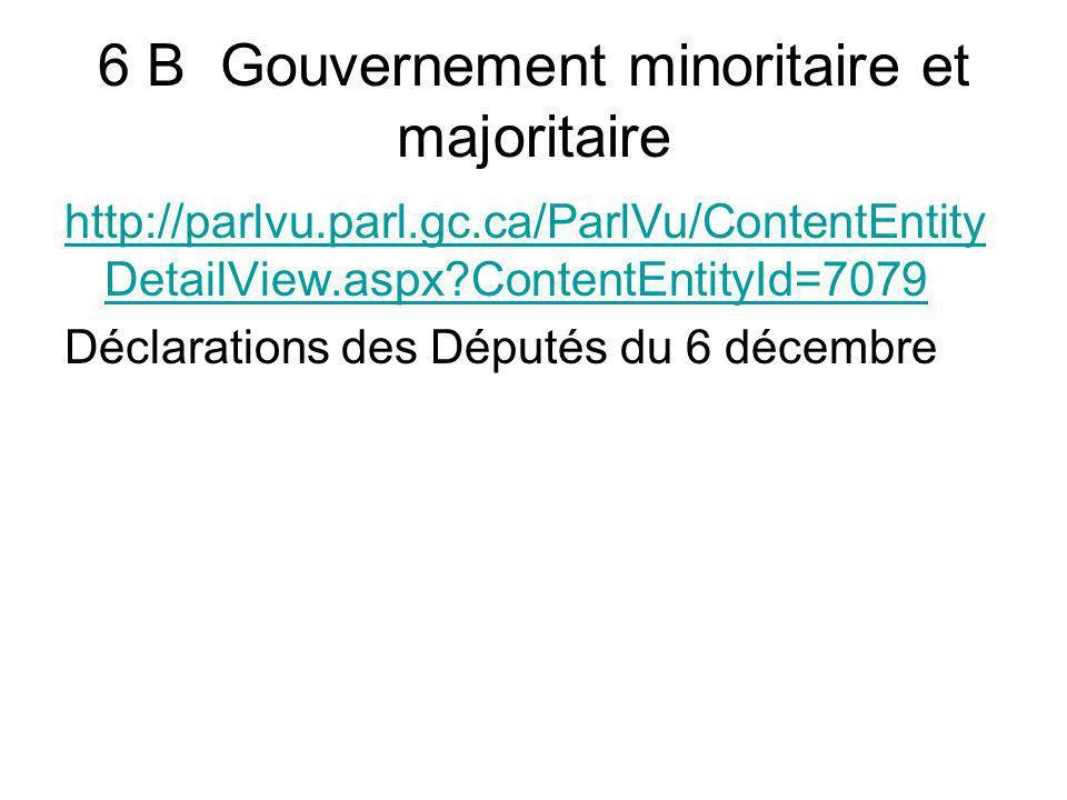 6 B Gouvernement minoritaire et majoritaire