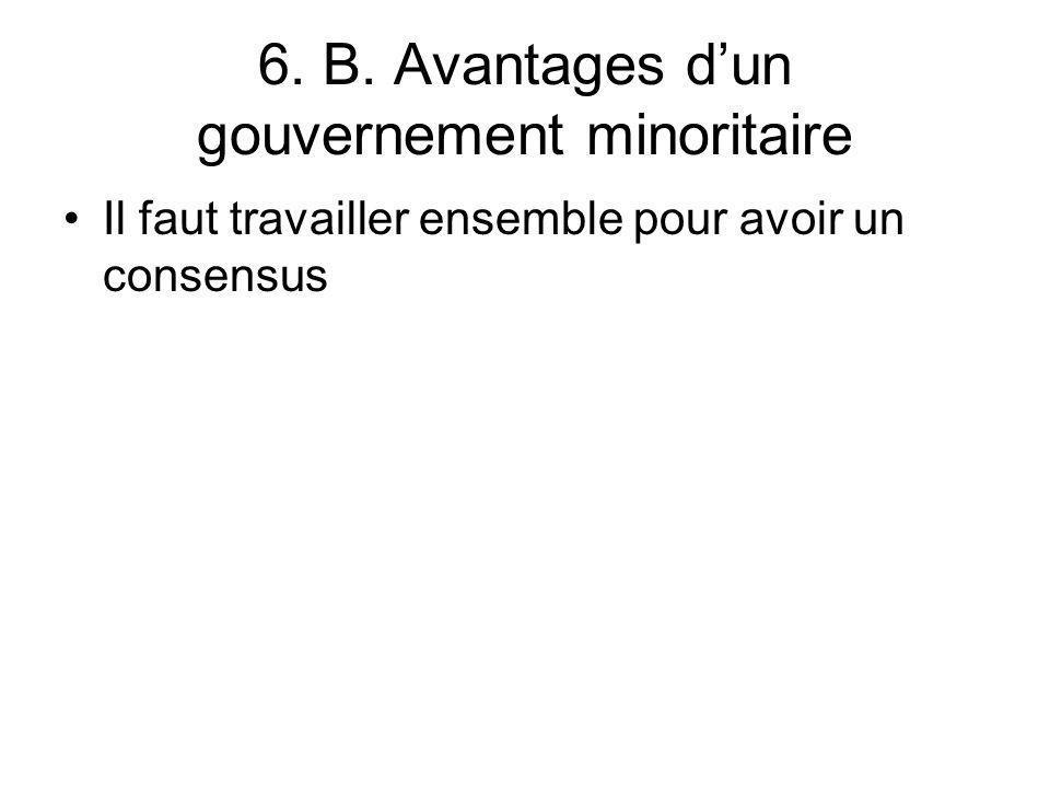 6. B. Avantages d'un gouvernement minoritaire
