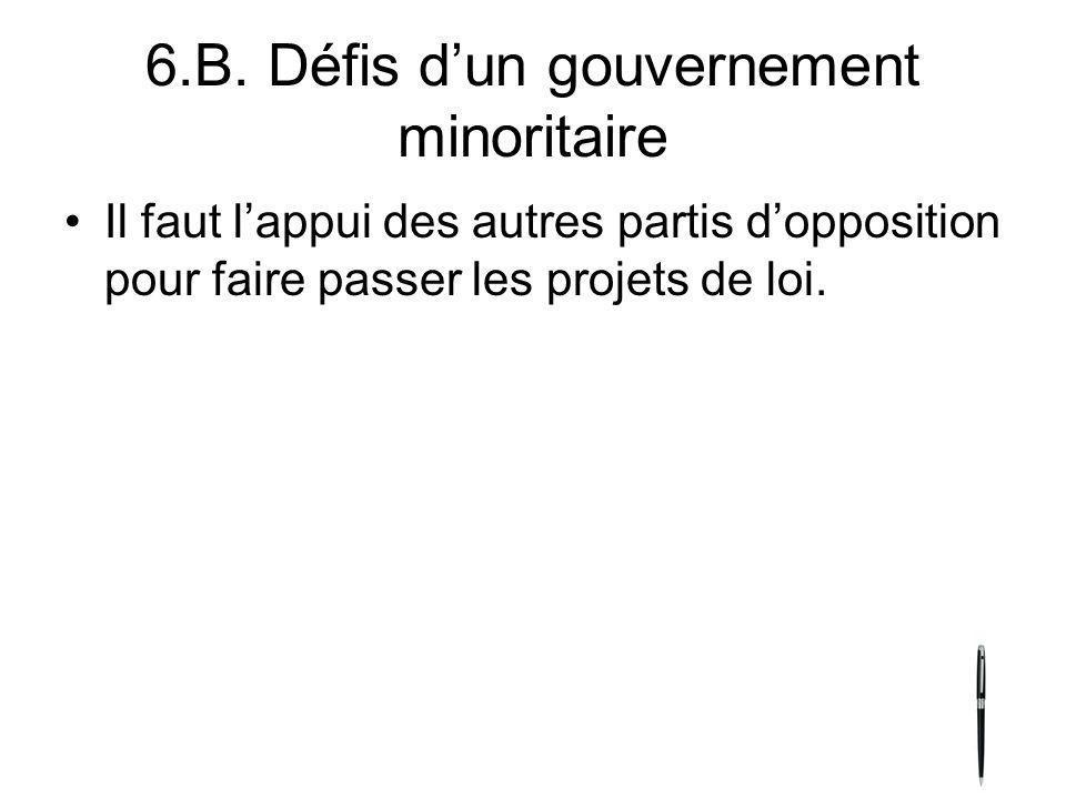 6.B. Défis d'un gouvernement minoritaire