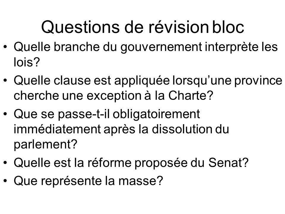 Questions de révision bloc