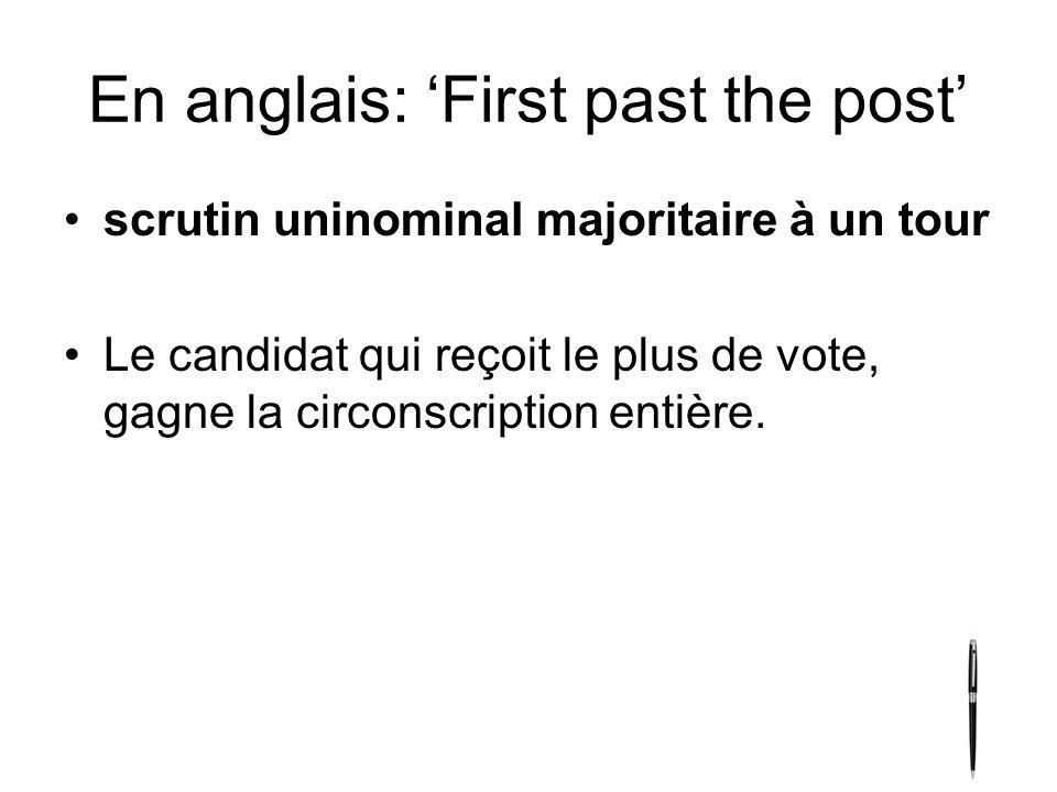 En anglais: 'First past the post'