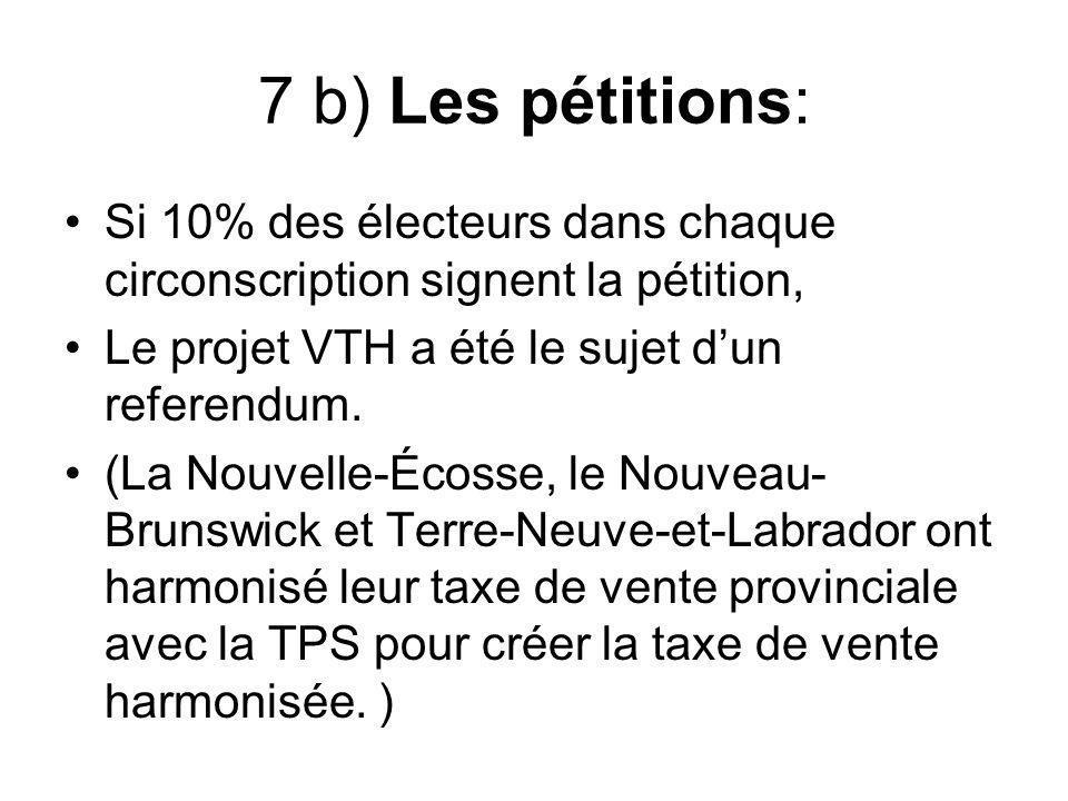 7 b) Les pétitions: Si 10% des électeurs dans chaque circonscription signent la pétition, Le projet VTH a été le sujet d'un referendum.