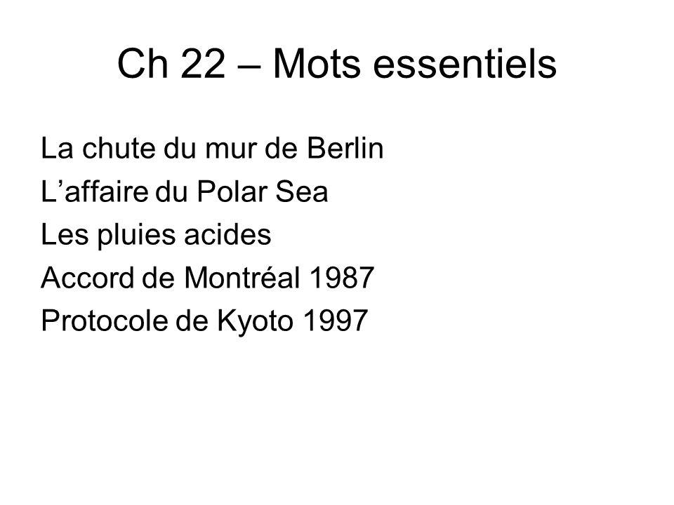 Ch 22 – Mots essentiels La chute du mur de Berlin