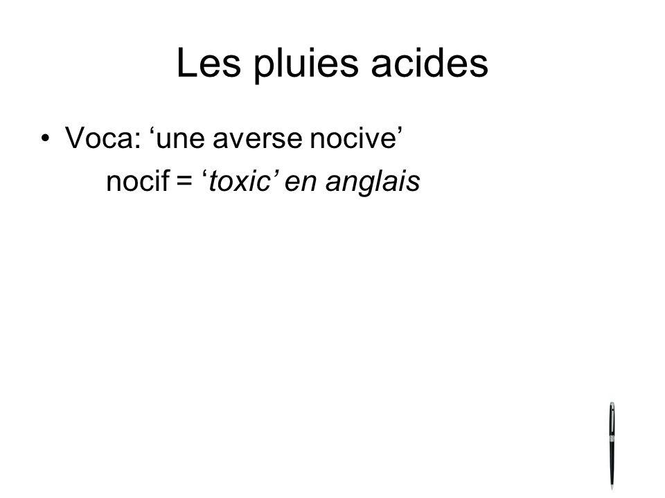 Les pluies acides Voca: 'une averse nocive' nocif = 'toxic' en anglais