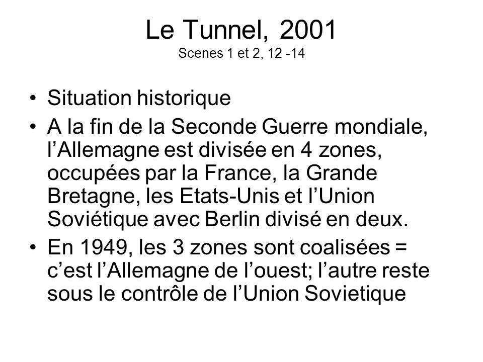 Le Tunnel, 2001 Scenes 1 et 2, 12 -14 Situation historique